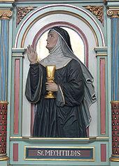 Peter Paul Metz: Mechthild von Magdeburg, Fantasieporträt am Chorgestühl der Pfarrkirche Merazhofen (Leutkirch im Allgäu), 1896