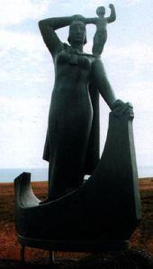 This amazing statue depicts her with her son. Statue of Guðríður Þorbjarnardóttir and her son in Laugarbrekka, Iceland Casting by Ásmundur Sveinsson of a