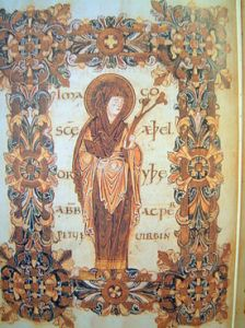 Saint Æthelthryth From Benedictional of St. Æthelwold, 10 C British Library