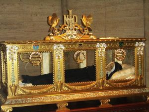 Saint Bernadette's body on display in Nevers, France. It has not decayed, but a layer of wax was placed over her face to cover some skin patches for presentablility.