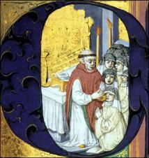 Here a priest offers a Medieval Eucharist.