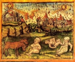 This Medieval painting depicts unsupervised children crying in a field. Note the red rain falling in the background over the city.
