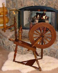 Flax spinning wheel.