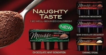 "Here, Jello advertises their line of mousse cups by hinting that it's both ""naughty"" in how good it tastes, and ""well-behaved"" because it's low-calorie. See how this sends confusing food messages?"