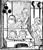 In this woodcutting, two women prepare a meal in a medieval kitchen.