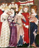 Here a group of medieval women stand together beneath one banner.