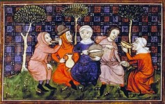 Here a group of medieval women breaks bread together.