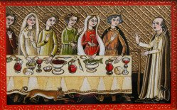 Here a group of medieval women are addressed by a monk before a table of food.