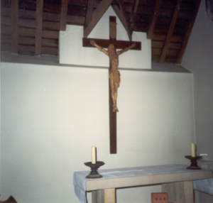A crucifix in the imagined cell she lived in.