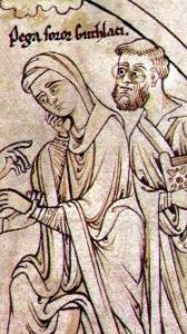 Guthlac's Sister, Pega, and Guthlac. Detail of Harleian Guthlac Roll Y.6 Image.