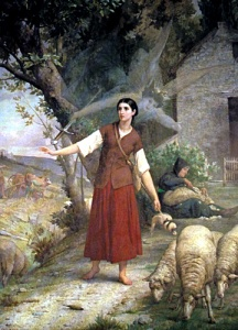 "Painting by Jules Lenepveu of Joan of Arc with her voices: """"Jeanne gardant ses moutons"""