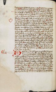 A page from the manuscript of the Book of Margery Kempe, c.1450. Photograph: British Library