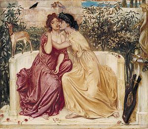 The gay, Jewish, Pre-Raphaelite painter, Simeon Solomon, created this lovely painting depicting
