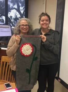 Corene Studstill and I with her amazing crochet symbolizing our silence and women class